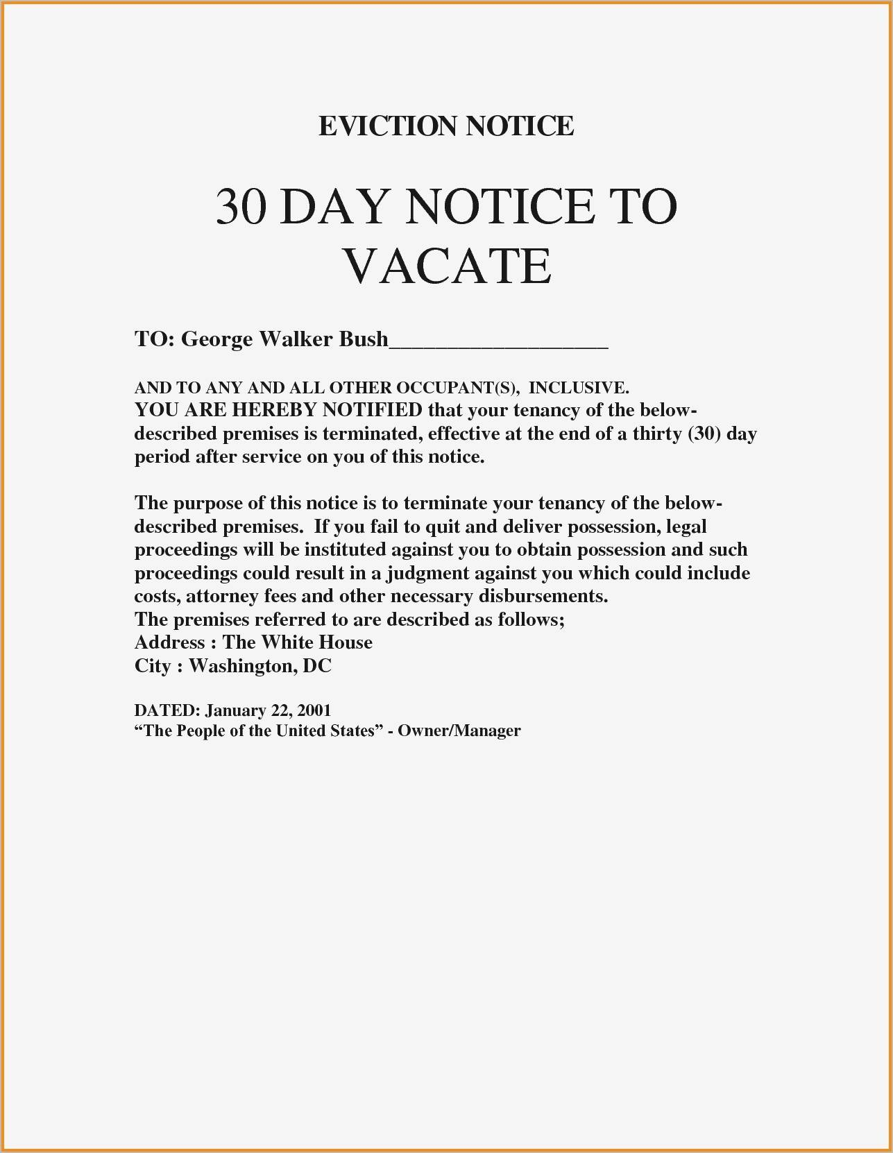Template Eviction Notice Letter
