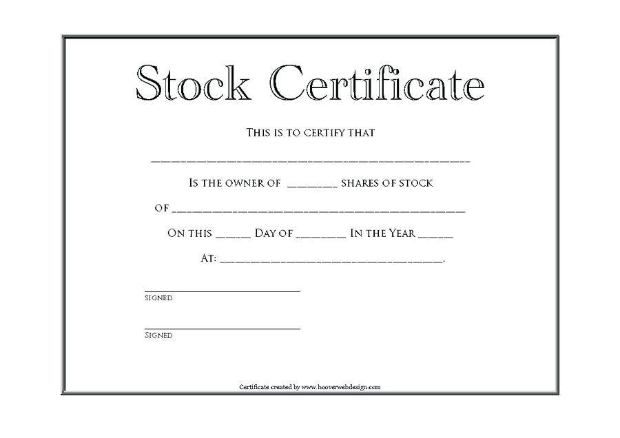 Template For A Blank Corporate Stock Certificate