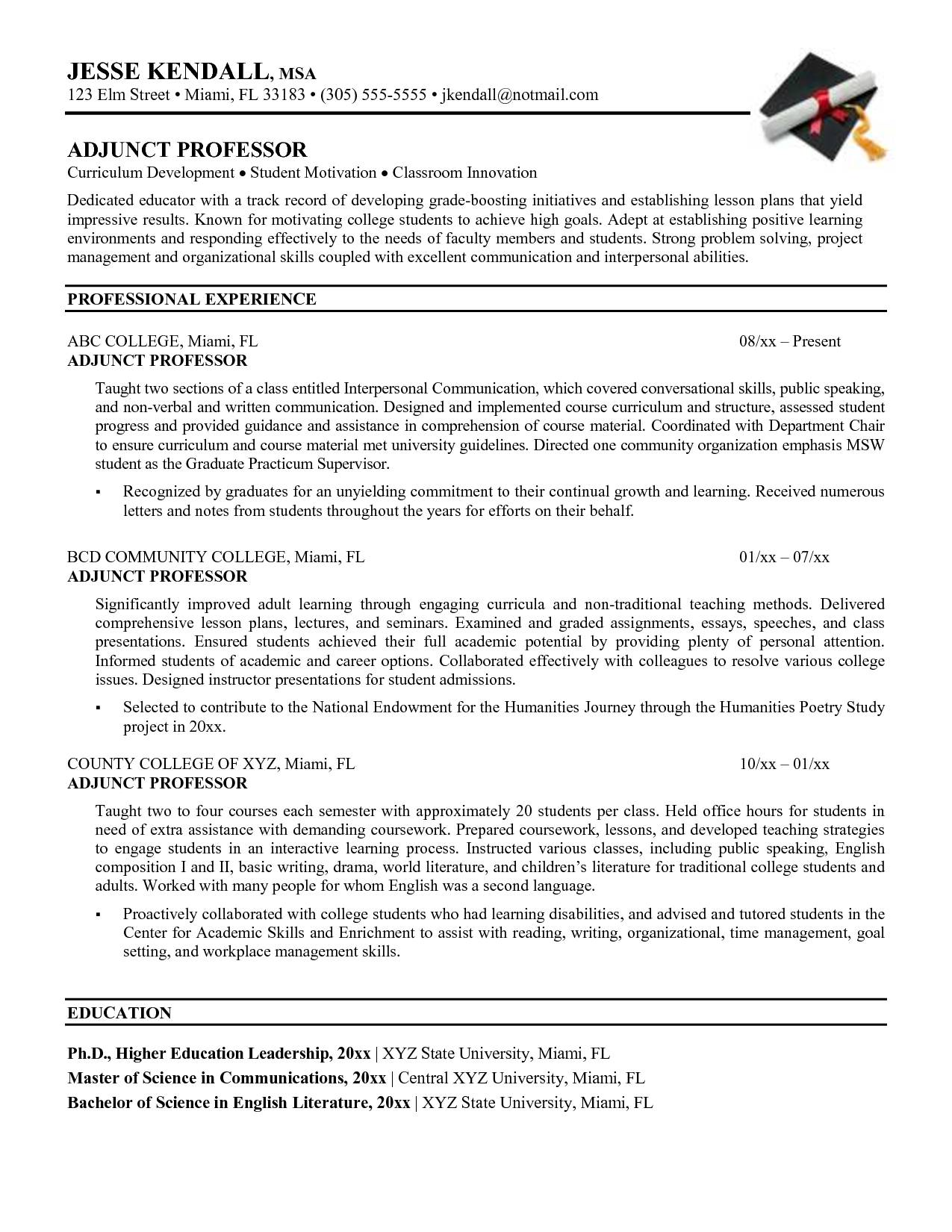 Template For A Curriculum Vitae