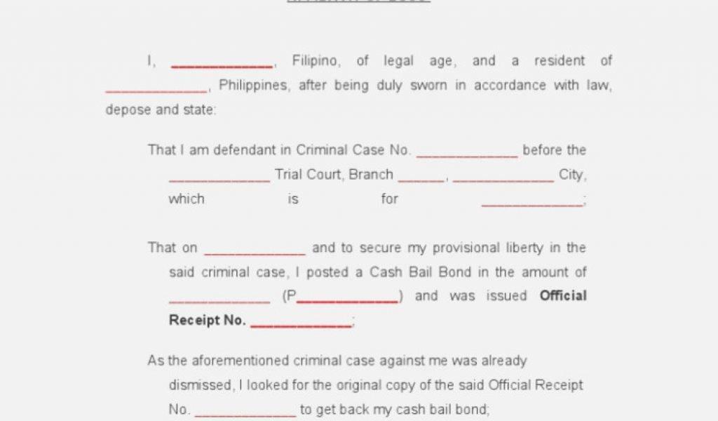 Template For Affidavit Of Loss