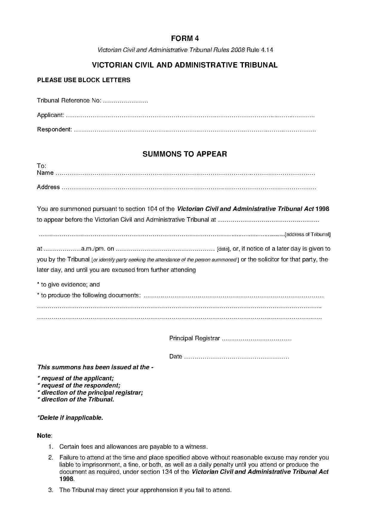 Template For Affidavit Of Service