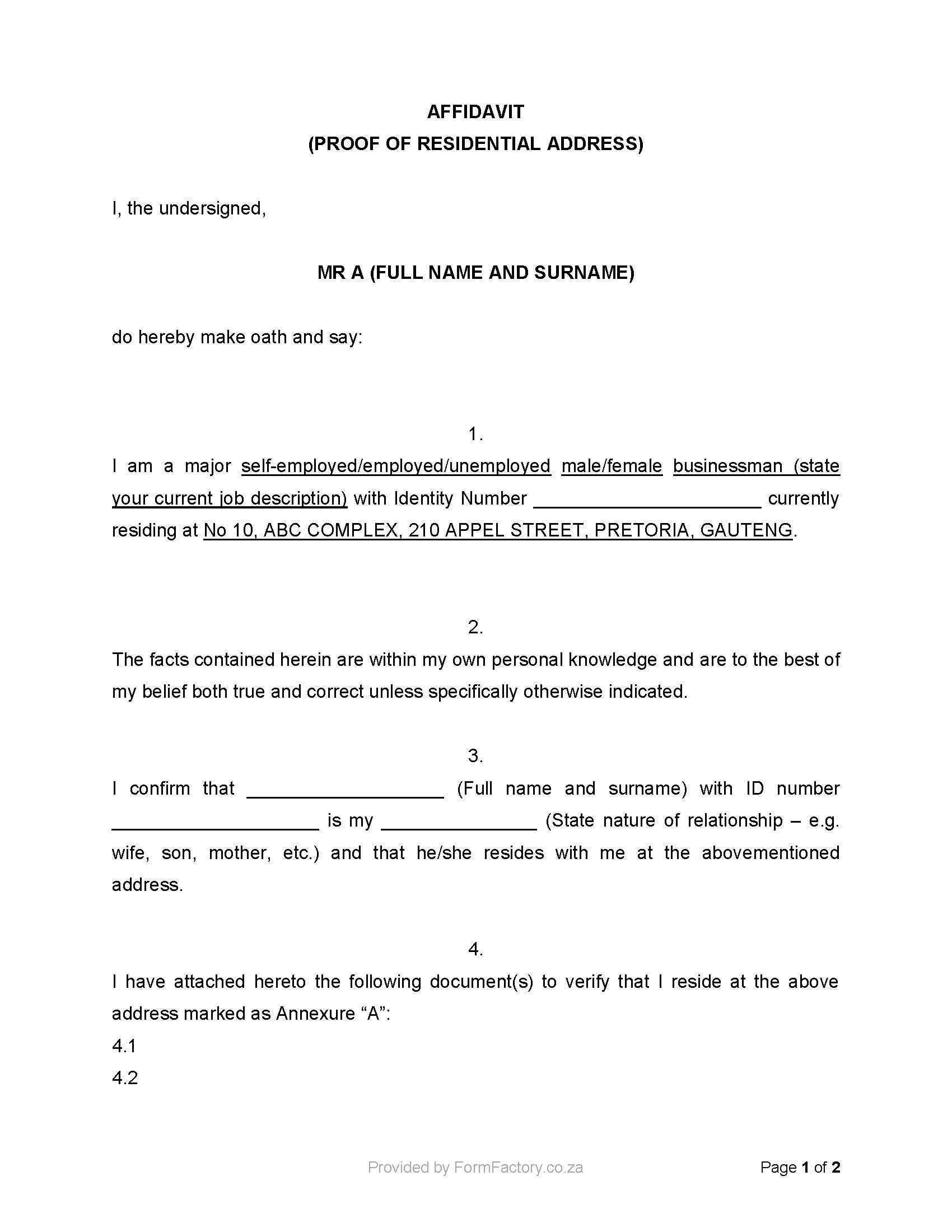 Template For An Affidavit In South Africa