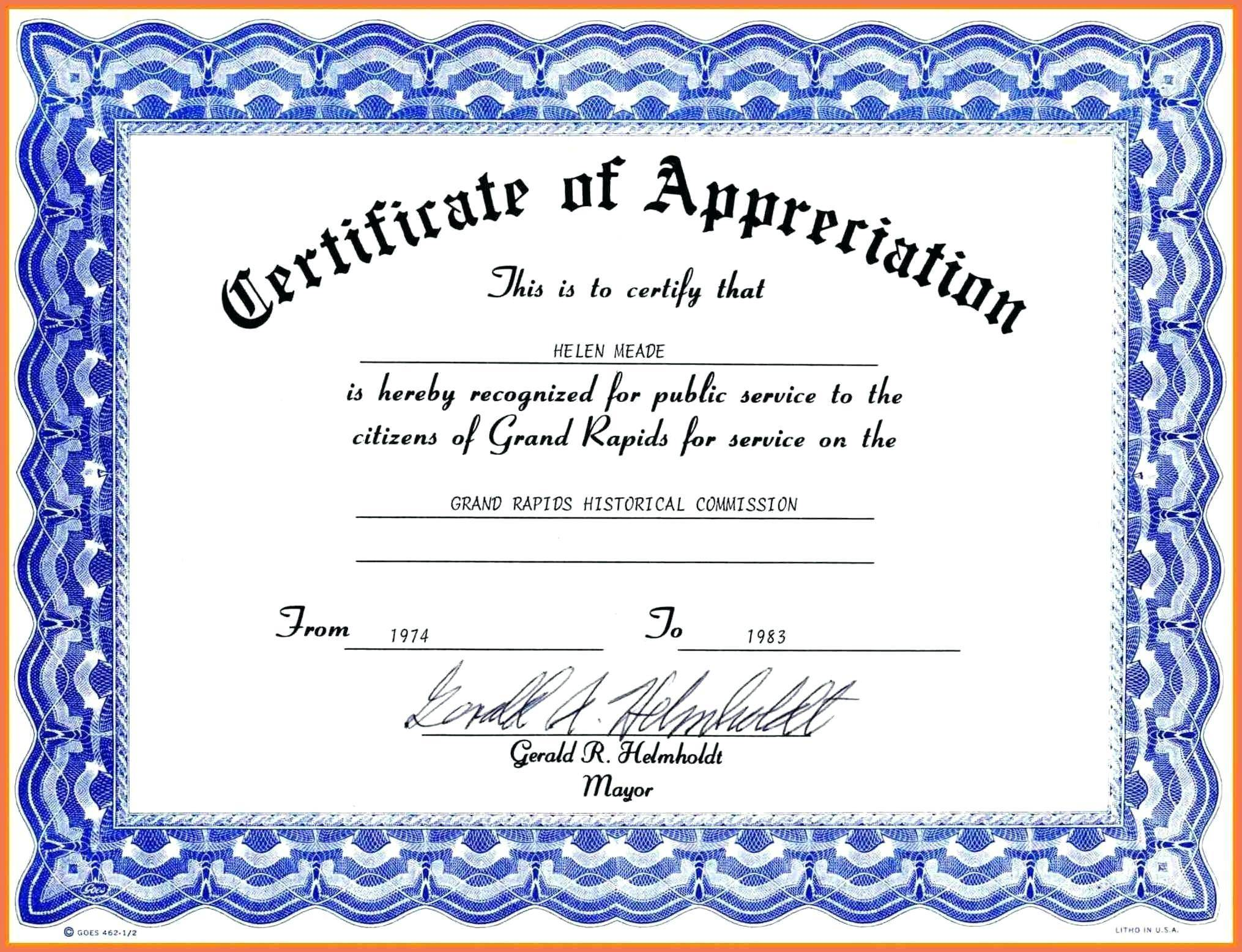 Template For Certificate Of Appreciation Free