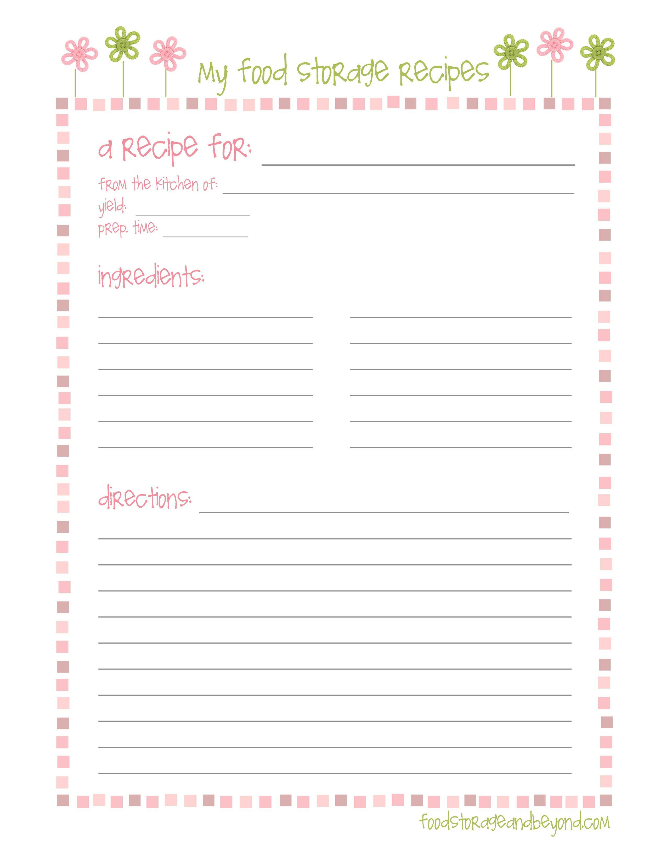 Template For Cookbook Pages