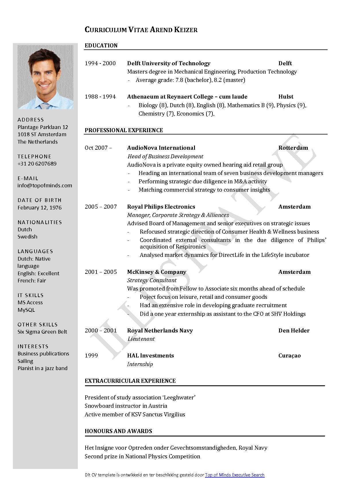 Template For Curriculum Vitae Free Download