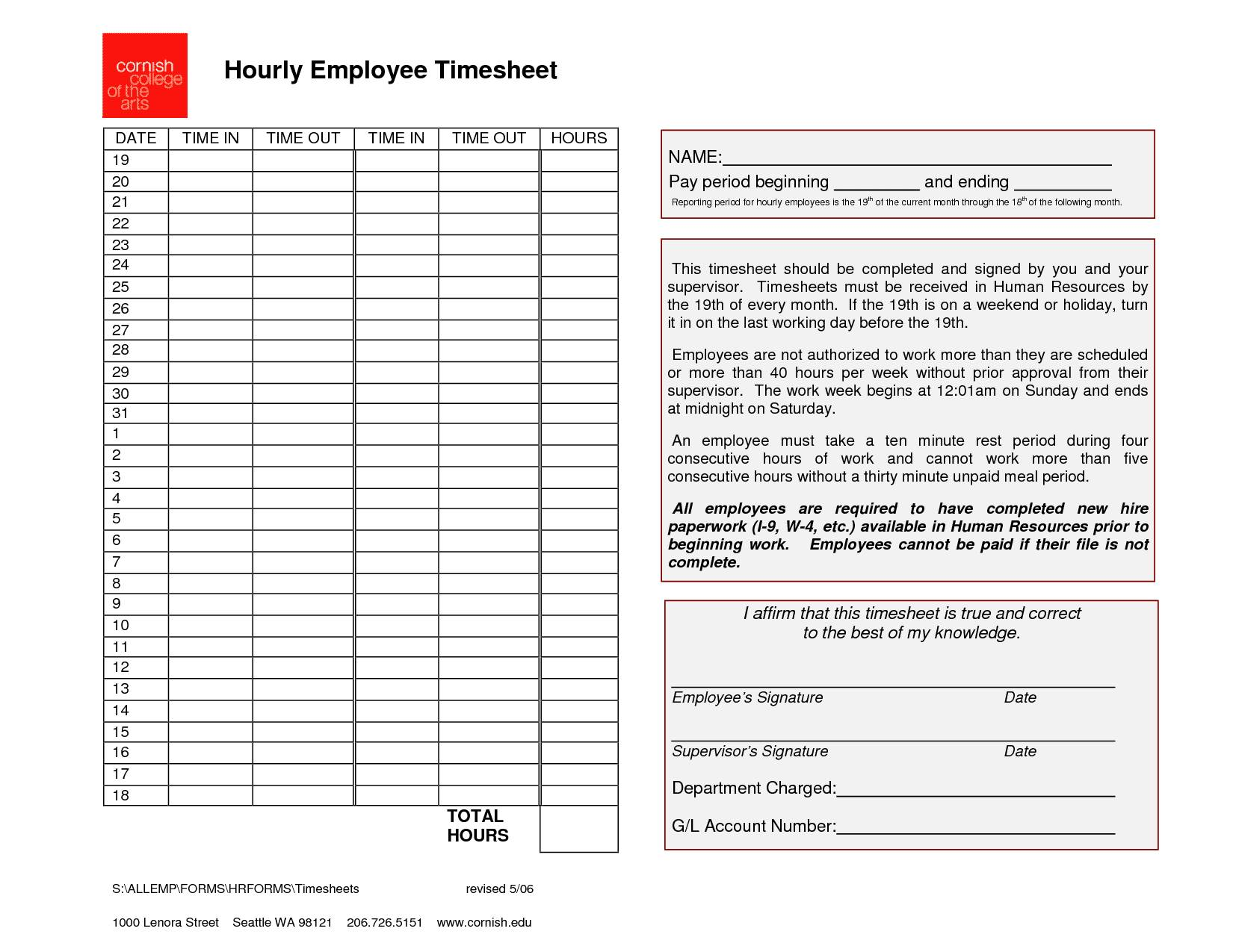 Template For Daily Time Sheets