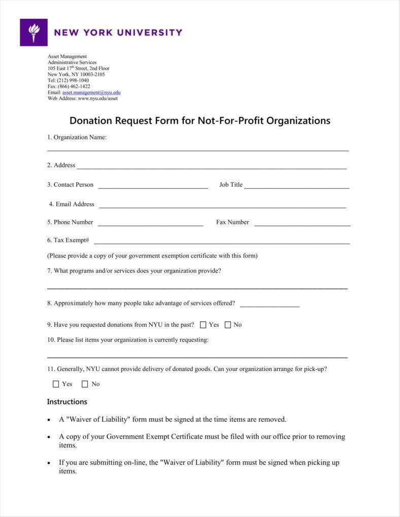 Template For Donation Request Form