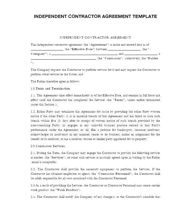 Template For General Contractor Agreement
