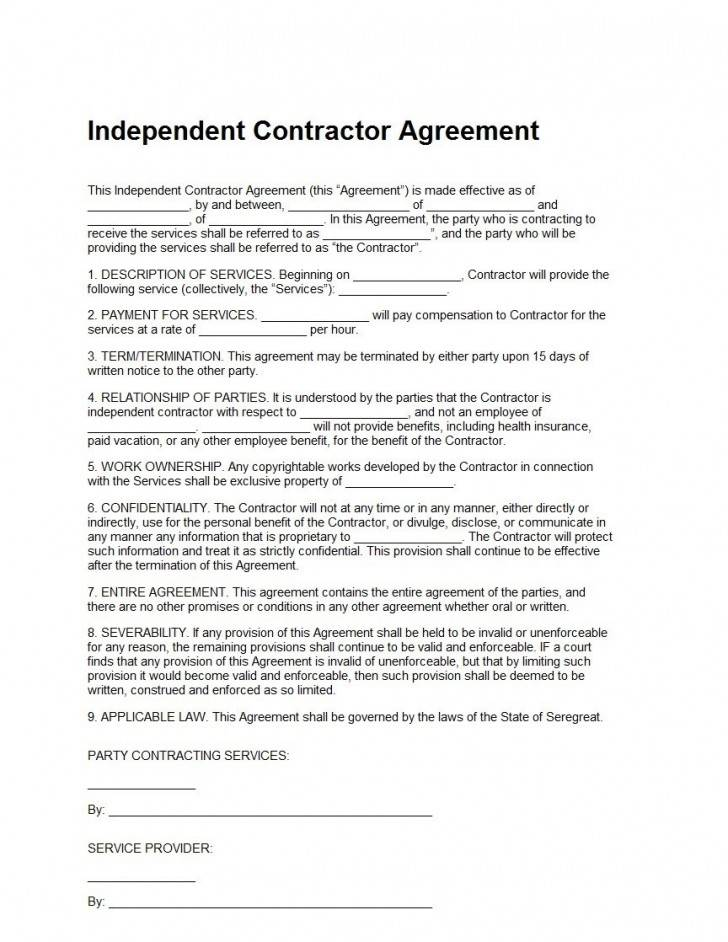 Template For Independent Contractor Agreement