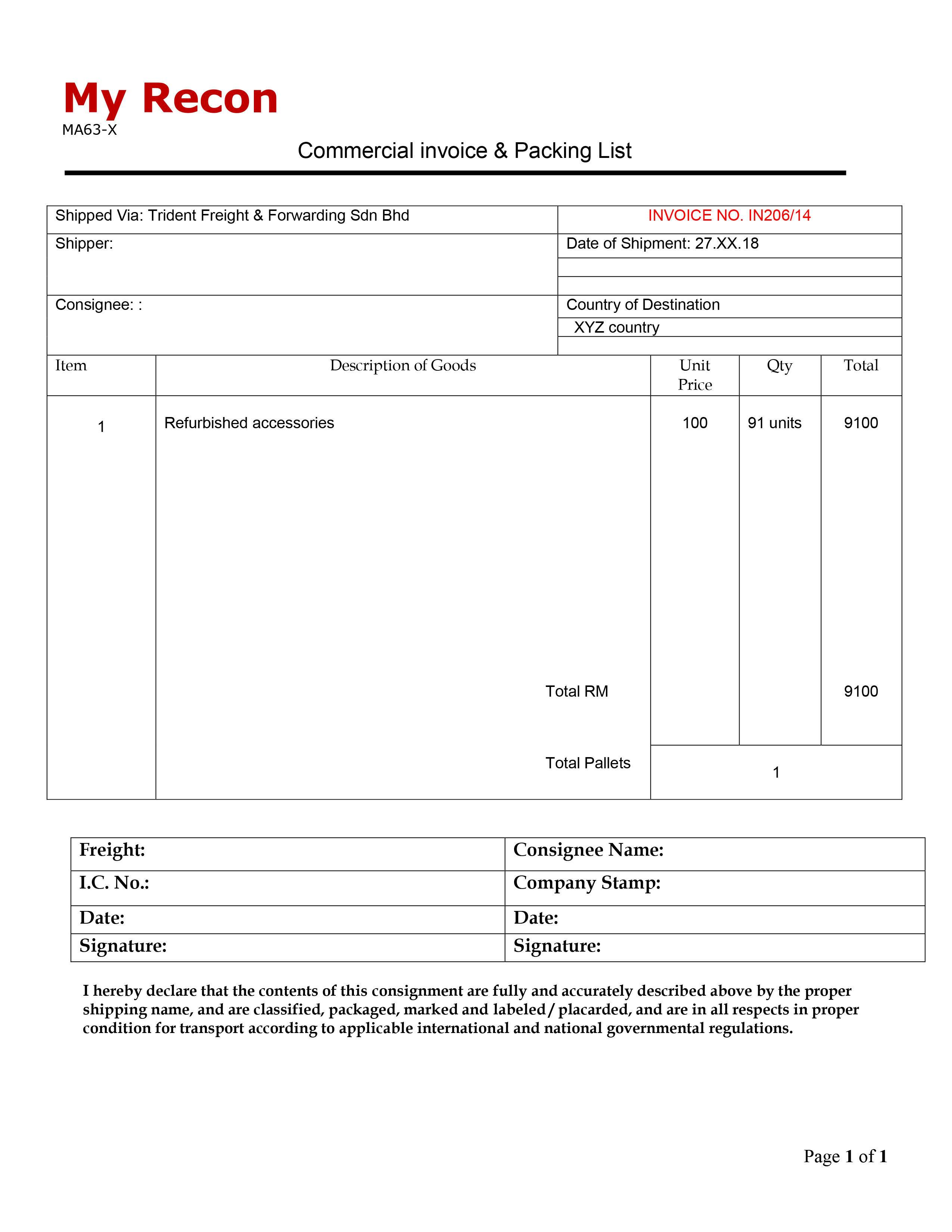 Template For Invoices