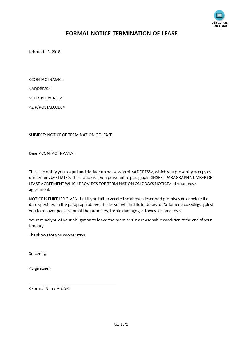 Template For Landlord Terminating Lease