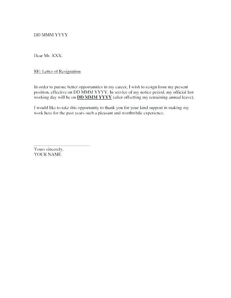 Template For Letter Of Resignation South Africa