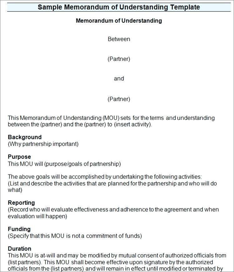 Template For Memorandum Of Understanding