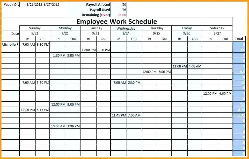 Template For Monthly Staff Schedule