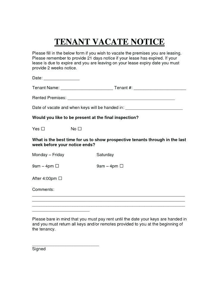 Template For Notice Of Intent To Vacate
