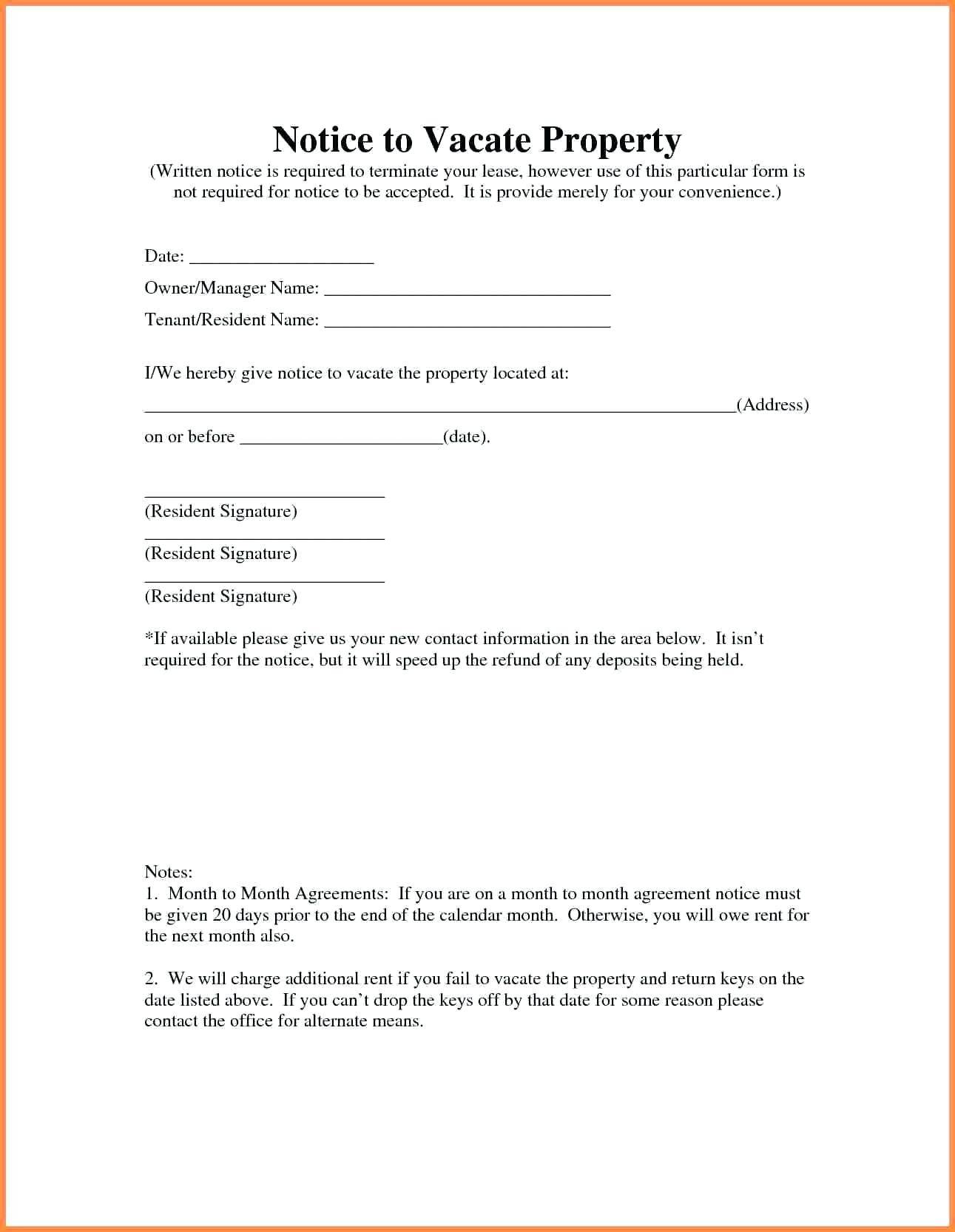 Template For Notice To Vacate