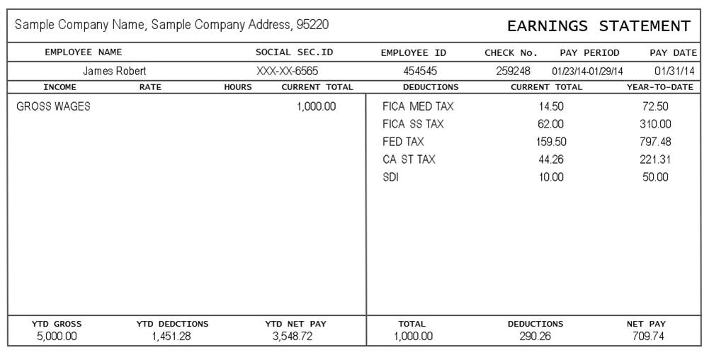 Template For Pay Stub Free