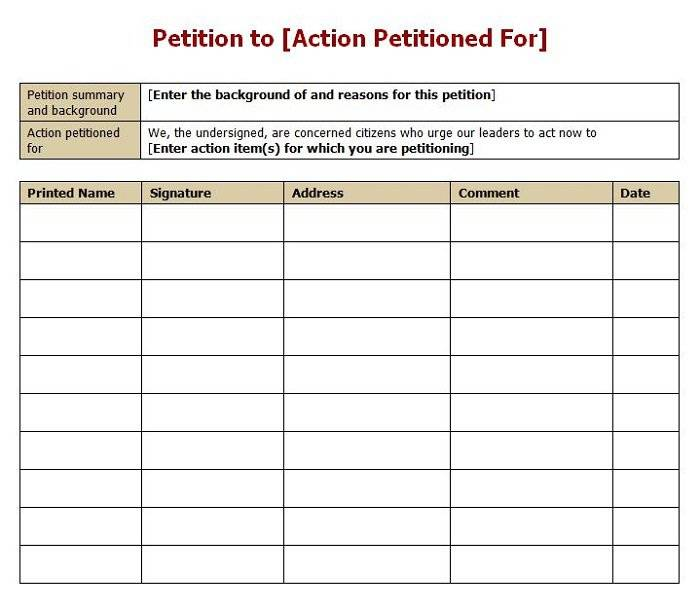 Template For Petition