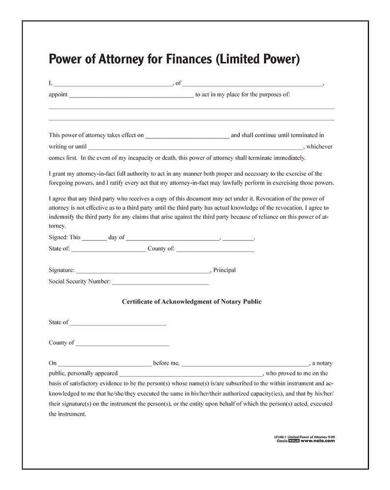 Template For Power Of Attorney Form