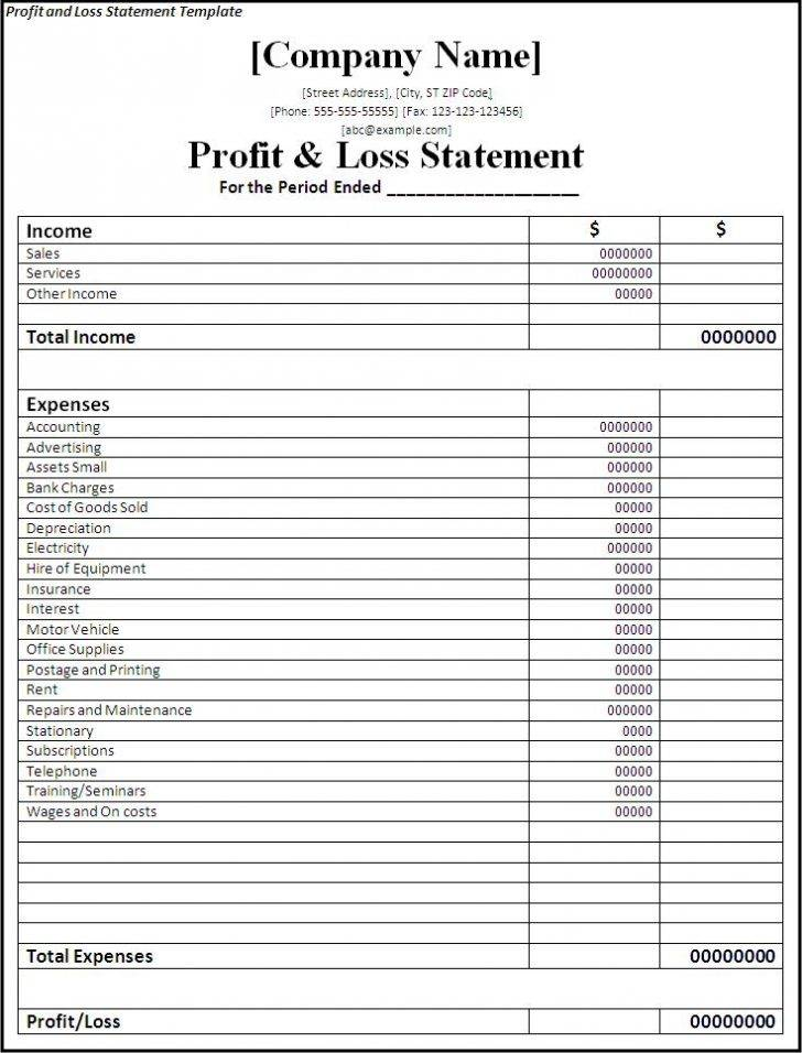 Template For Profit And Loss Statement