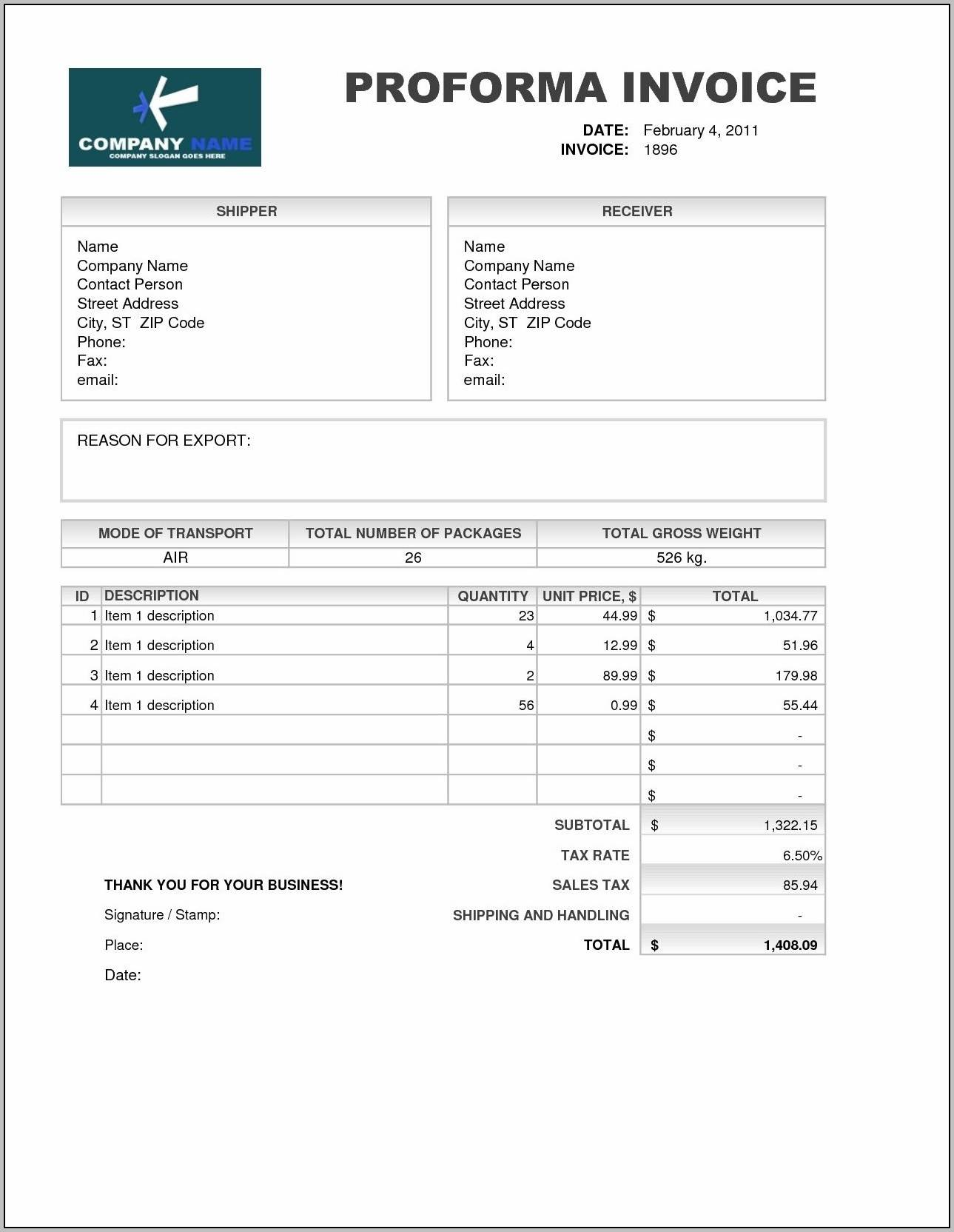 Template For Proforma Invoice In Excel