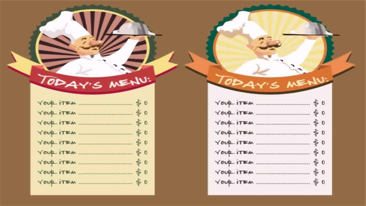 Template For Restaurant Menu Microsoft Word