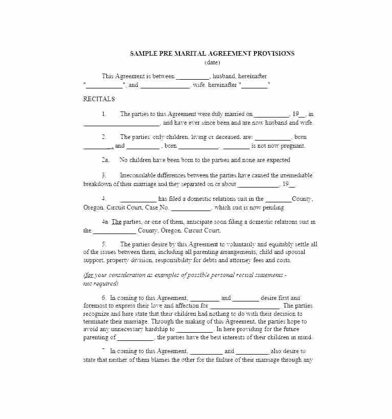 Template For Settlement Agreement Divorce