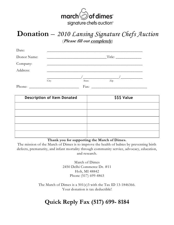 Template For Silent Auction Donation Form