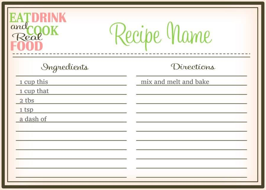 Template For Small Cookbook