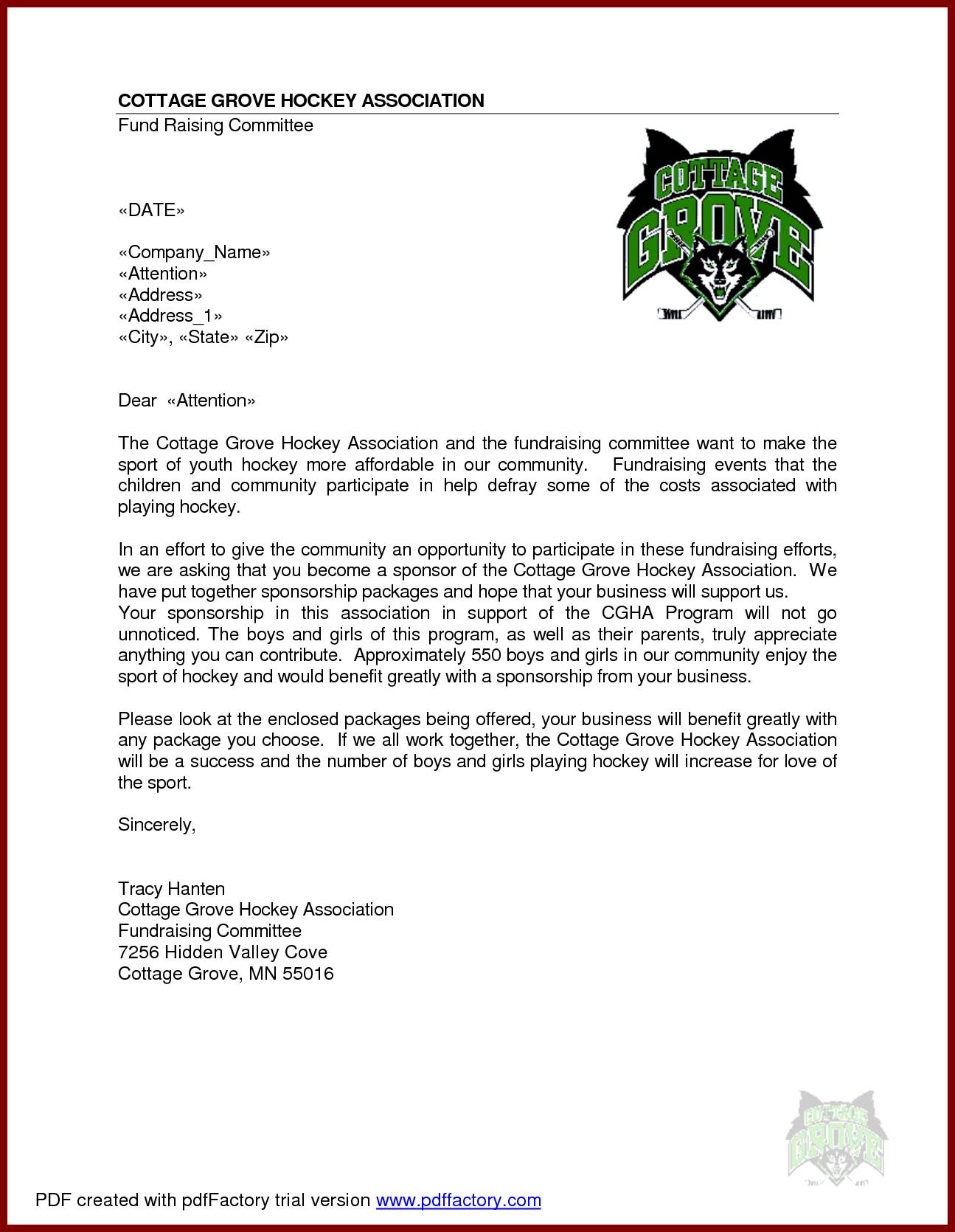 Template For Sponsorship Proposal Letter