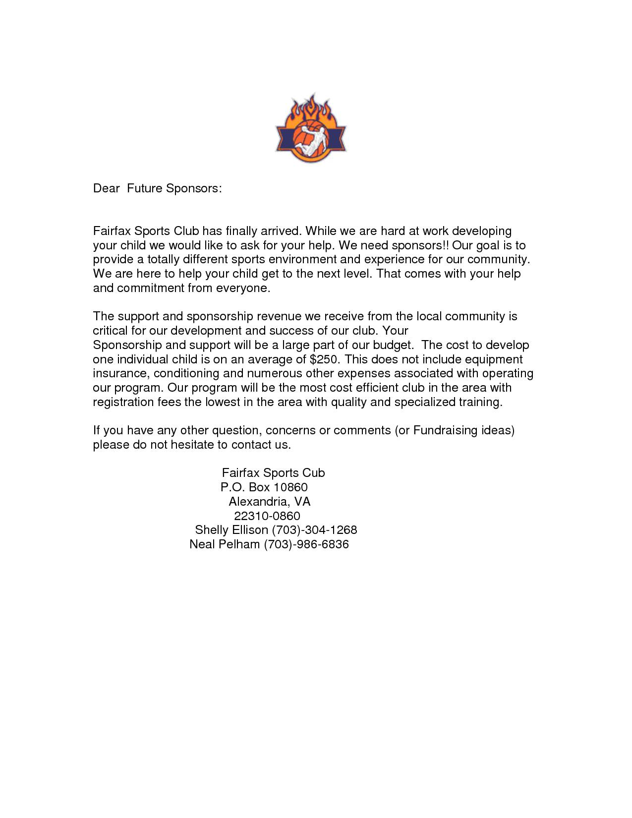 Template For Sports Sponsorship Letter