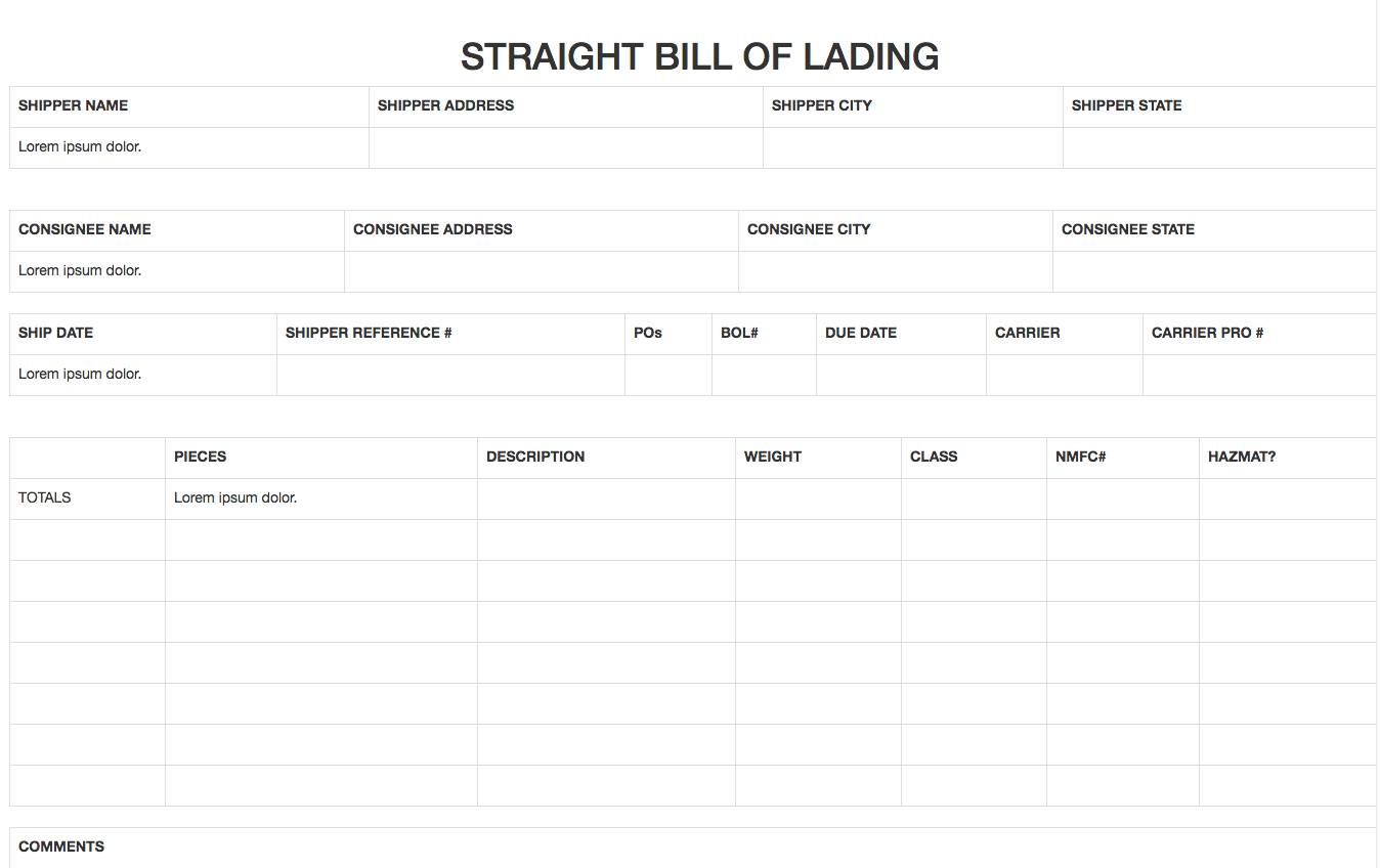 Template For Straight Bill Of Lading