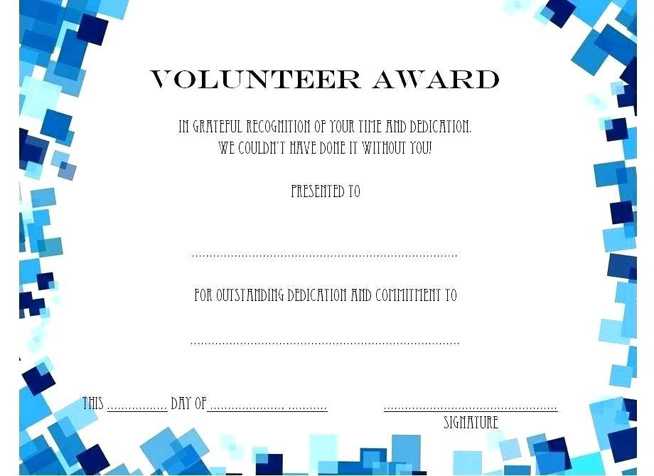 Template For Volunteer Certificates Of Appreciation