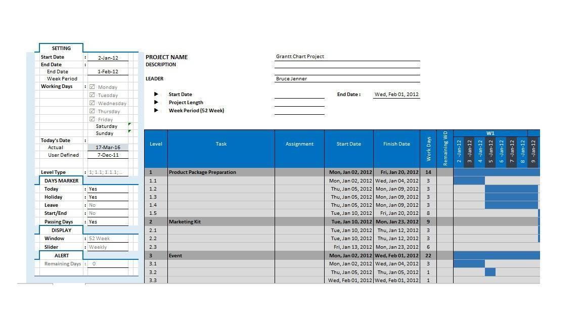 Template Gantt Chart Excel