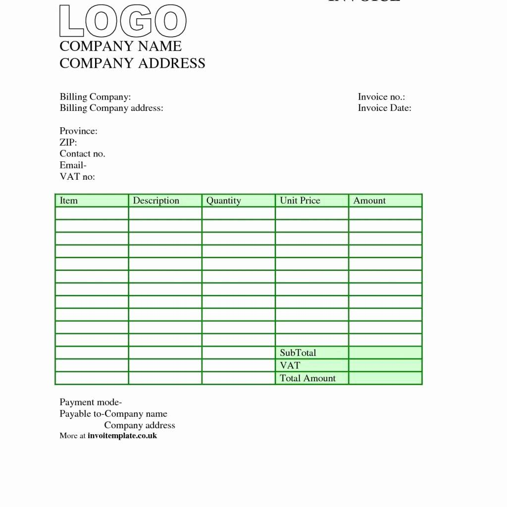 Template Invoice Word Uk