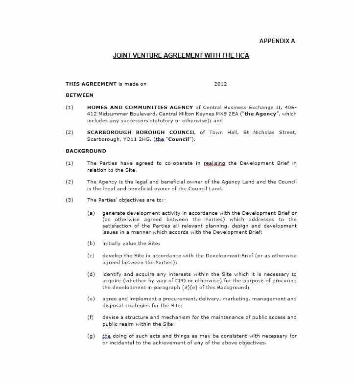 Template Joint Venture Agreement South Africa