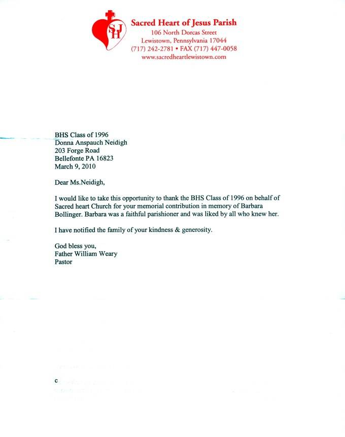 Template Letter For Donation In Memory Of