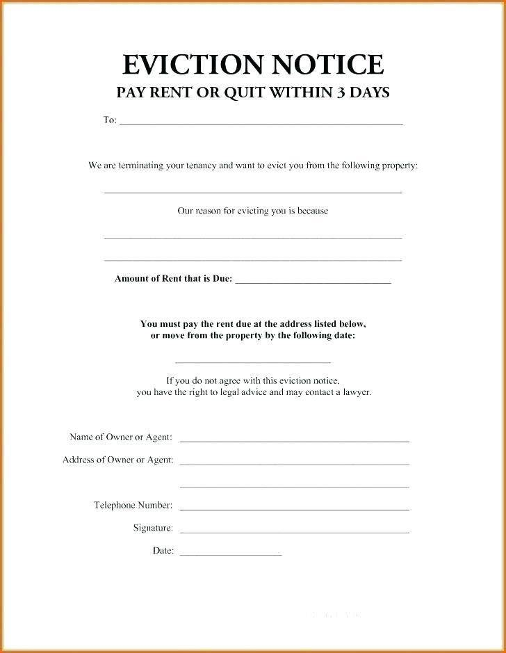 Template Letter For Eviction Notice