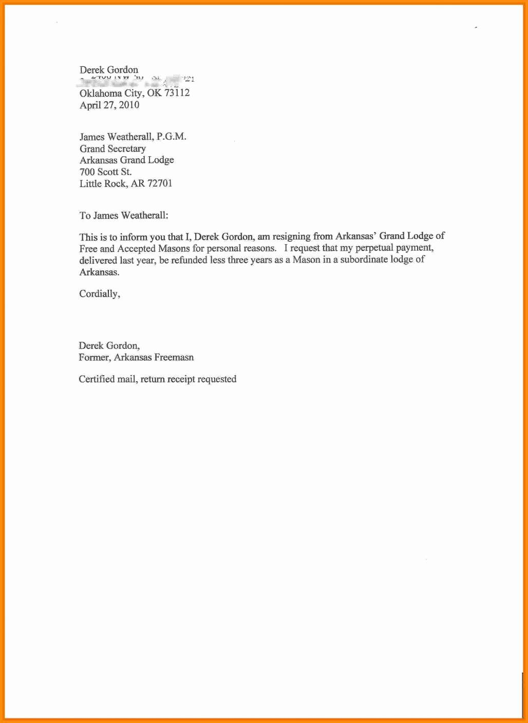 Template Letter Of Resignation From Board