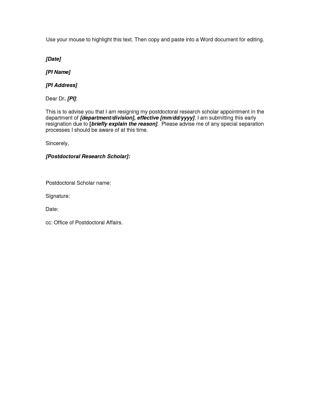 Template Letter Of Resignation Teacher