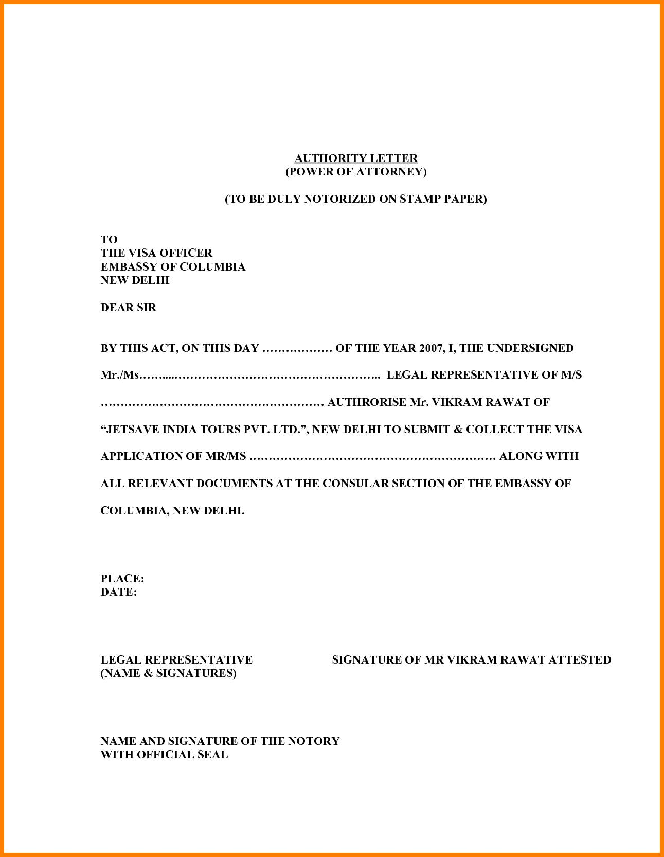 Template Of Power Of Attorney Letter