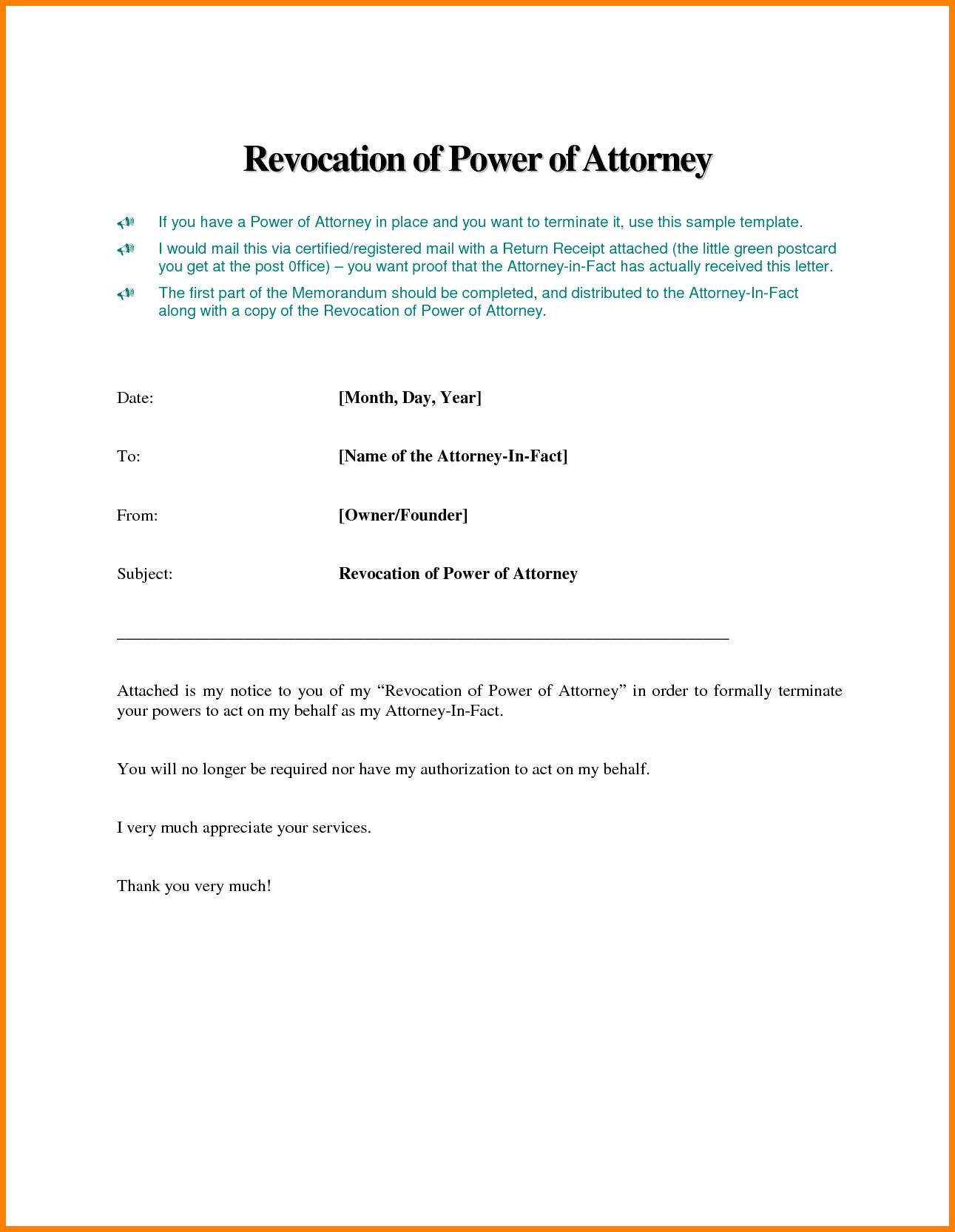 Template Of Power Of Attorney