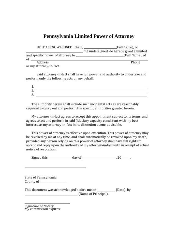 Template Power Of Attorney Canada