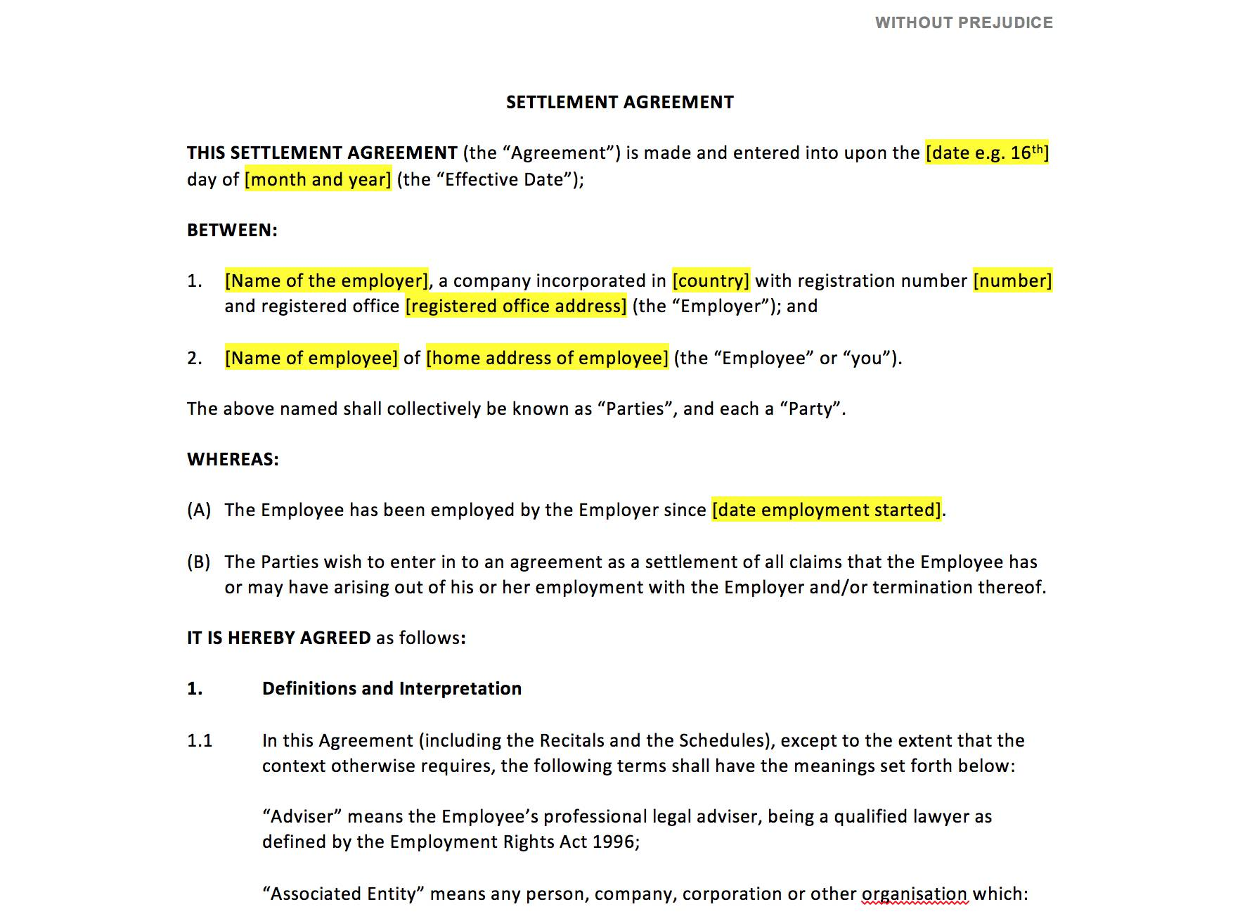 Template Settlement Agreement Uk