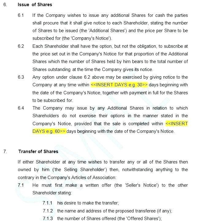 Template Shareholders Agreement Nz