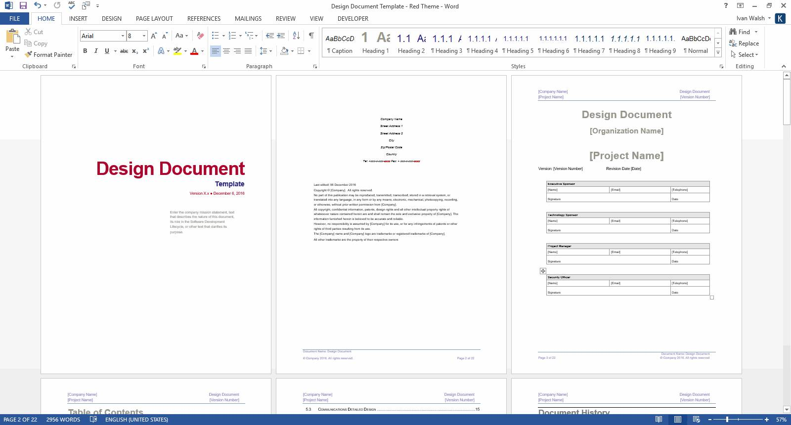 Template Software Design Document