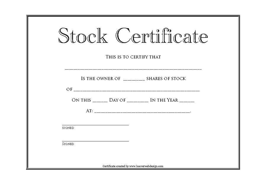 Template Stock Certificate