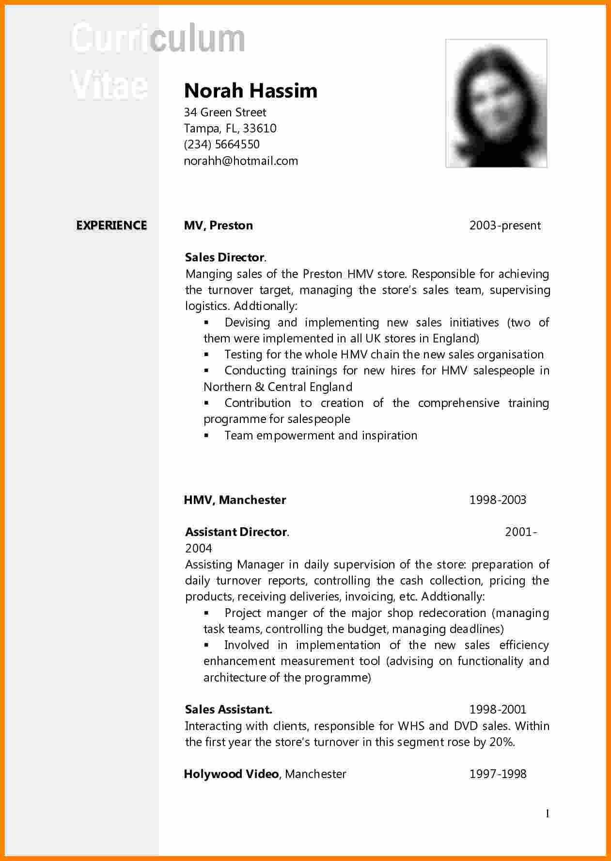 Templates Curriculum Vitae Download