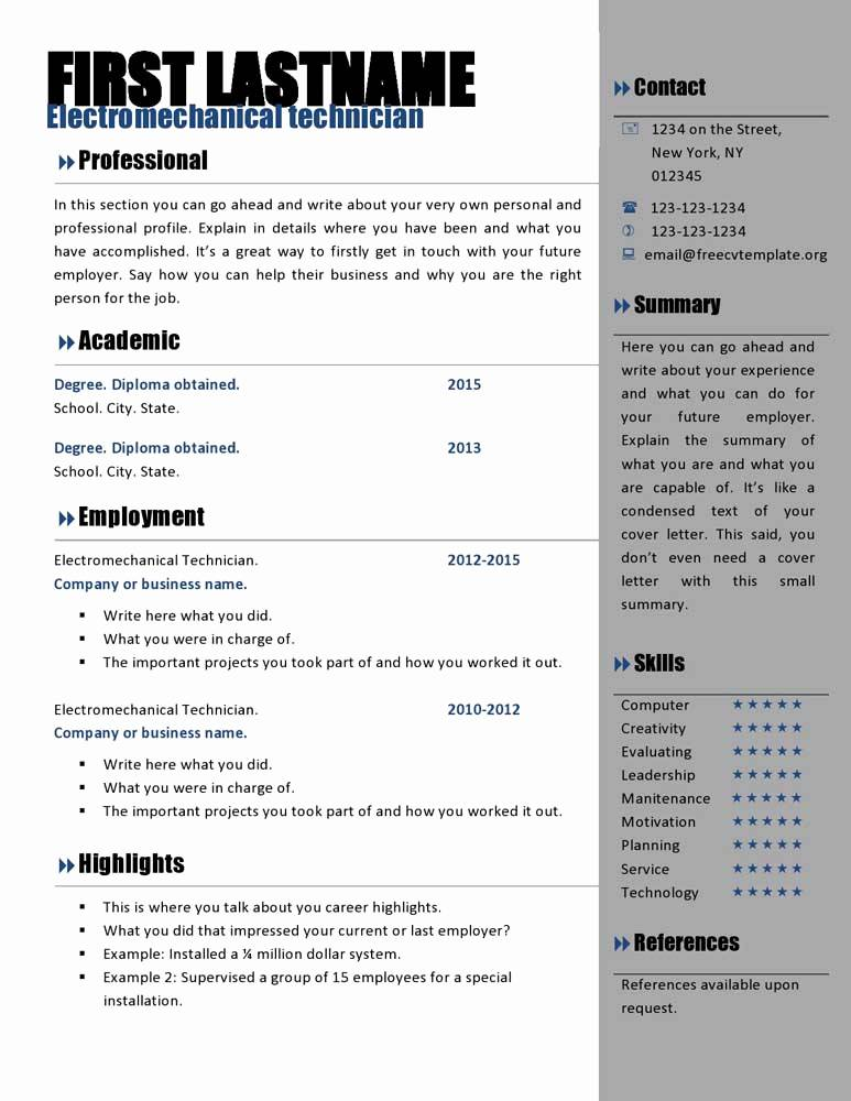Templates Curriculum Vitae Word Free