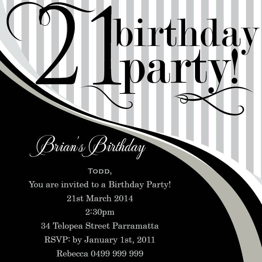 Templates For 21st Birthday Invitations